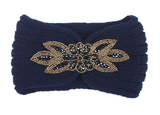 Scarfz gebreide haarband hoofdband winter sparkle blauw