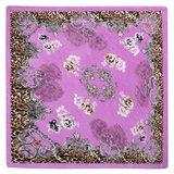 Scarfz vierkante zijdezachte satijn sjaal Summer is Here paars purple silk shawl