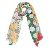 Scarfz lange dames sjaal Cheerful Day groen green flowers chains dot stippen