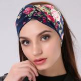 Scarzf haarband Soft Roses blauw roze blue pink