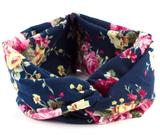 Scarzf haarband Soft Roses blauw roze