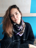 Vierkante zijdezachte sjaal Colorful Leo|Vierkante shawl|Satijn|lila paars|Luipaardprint_