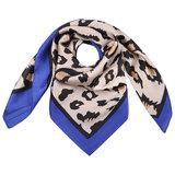 Vierkante zijdezachte sjaal Silky Wild blauw|Vierkante shawl|Satijn|Luipaardprint_