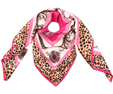 Vierkante zijdezachte sjaal Silky Italic|Vierkante shawl|Satijn|Roze|Luipaardprint_