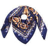 Vierkante zijdezachte sjaal Classic Silky Leo Vierkante shawl Satijn Blauw bruin Luipaardprint_