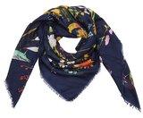 Grote vierkante sjaal Wild Flower|Vierkante shawl|Bloemen vogels print|Blauw roze oranje geel_