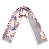 Lange zijdezachte sjaal Silky Circus|Paisley fantasy|Roze grijs_