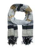Lange dames heren sjaal Max|Zwart grijs beige|Warme winter sjaal|Gestreept_