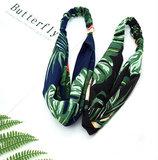 Scarfz haarband headband Dancing flamingo blauw