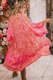 Strandjurk Hot Floral|Tuniek kaftan|Bloemenprint|Roze rood_