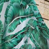 Strandjurk Tropical Greensl|Tuniek kaftan|Bladerprint|Groen Wit_