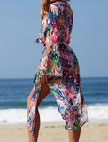 Strandjurk Floral Leaf|Tuniek kaftan|Bladerenprint|Blauw roze multi_