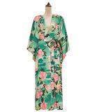 Strand cover-up Spring Flower|Tuniek kaftan|Bloemen print|Groen roze multi_