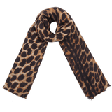 Lange dames sjaal Wild at Heart Zwart bruin Extra zacht Luipaardprint_