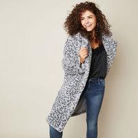 Faux fur jas Stay Cozy|Grijze mantel|Luipaardprint|nepbont jas