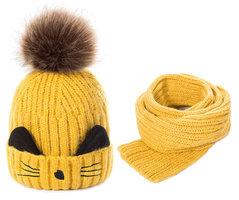 Warme kinderset sjaal muts Cartoon|Geel zwart|Beestje