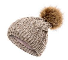 Warme gebreide kindermuts Knit| Beige bruin|Met voering