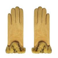Zachte dames handschoenen Warm Touch|Geel|Nepbont|warme handschoenen
