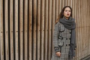 Mooie gebreide sjaal Winter Knitted Grijs Dikke kwaliteit Extra lang