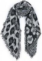 Dames wintersjaal Freaky Leopard Lange shawl Extra dikke kwaliteit Zwart grijs glitter