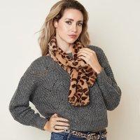 Faux fur lange sjaal Winter Animal Bruin Luipaard print Nep bont
