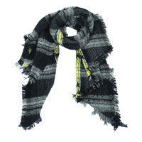 Warme dames sjaal Stars Stripes Lange dames shawl Zwart grijs geel Geblokt Geruit Extra zacht