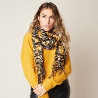 Zachte dames sjaal Soft Tiger|Beige bruin zwart|Tijgerprint