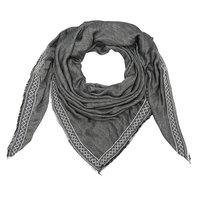 Vierkante dames sjaal Rows|Vierkante shawl|Grijs|Aztec bies