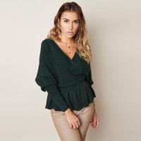Dames trui Glitter Wrap Groene sweater Glitter Peplum