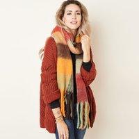 Zachte dames sjaal Winter Magic Rood geel bruin zwart Geblokt