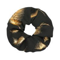 Scrunchie Golden Feather|Haarelastiek|Haarwokkel|Zwart goud