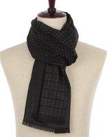 Heren sjaal Houndstooth dot|Warme heren shawl|Zwart Gestipt geruit houndstooth|Fijne franjes