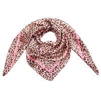 Klein vierkant sjaaltje Silky Leopard|Zijdezachte shawl|Luipaardprint|Roze