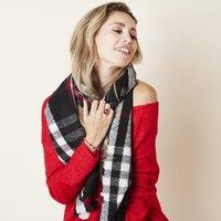 Stoere sjaal London Vibes|Extra lange dames sjaal|Geruit Geblokt|zwart wit rood