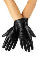 Lederen dames handschoenen Cross Stitch|Zwart|Zachte voering