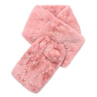 Lange dames sjaal Fur Pearls|faux fur bont|Roze