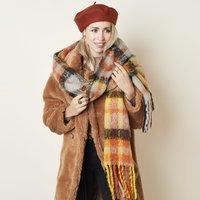 Zachte dames sjaal Warm Vibes|Langwerpige shawl|Oranje Geel|Geruit gestreept