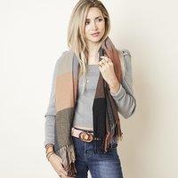 Zachte dames sjaal Cold Outside|Vierkante shawl|Geblokt|Camel Blauw