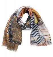 Vierkante dames sjaal Square Leaf|Groen bruin geel|Bladerenprint