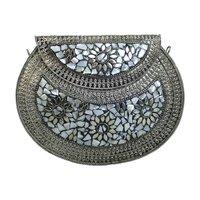 Handgemaakte clutch Inda|Hardcase schoudertas|Studs parelmoer