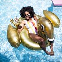 Inflatable Golden Swan Opblaasfiguur Waterspeelgoed Gouden zwaan Luchtbed