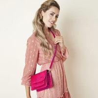 Rechthoekige damestas Elegant|Kleine schoudertas|Fuchsia roze