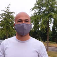 Effen grijs mondmasker Gris|Katoen mondkapje|Herbruikbaar|Met 4 PM2.5 filters