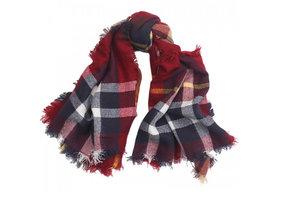 Trendy vierkante dames sjaal rood geruit
