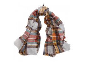 Bruine dames shawl geruit|Omslagdoek|Bruin|Geblokt|Vierkante sjaal
