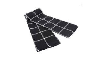 Zwart wit geruite sjaal|Sjaal extra breed|Zwart wit|Geblokt|Omslagdoek|Zachte kwaliteit