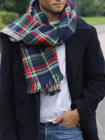 Dubbelzijdig geruite unisex sjaal