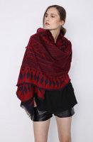 Warme dames sjaal Roman|Rood Blauw|Lange sjaal|Wol mix