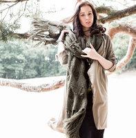 Lange gebreide dames sjaal Warm Winter groen