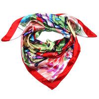 Vierkant dames sjaaltje zijde-look rood painted vibes